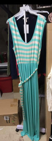 SALE!! Grey/Mint Striped Maxi-LAST ONE Size XL