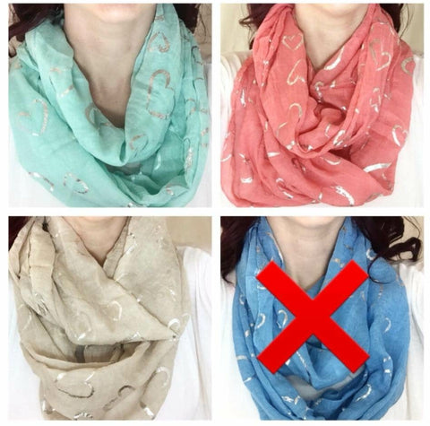SALE!! Lightweight Heart Detail Infinity Scarf