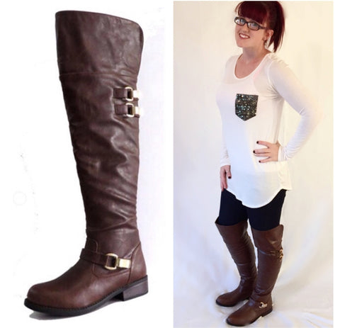 SALE!! Brown Over The Knee Riding Boots