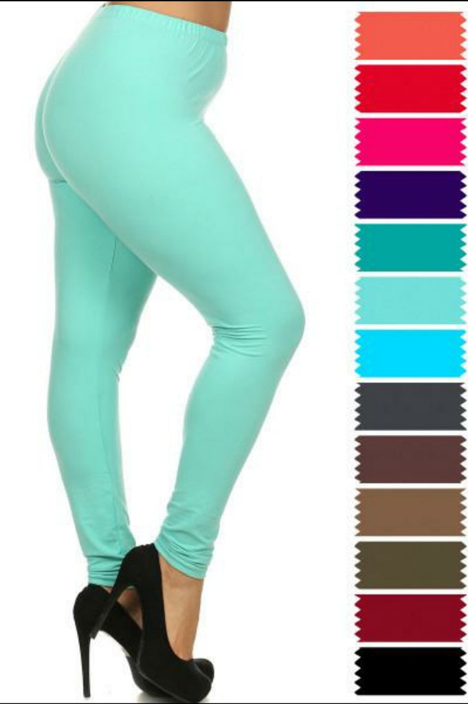 SALE!! Solid Full Length Leggings-PLUS