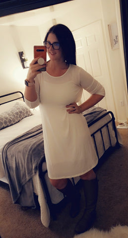 SALE!! White 3/4 Sleeve Tunic Dress
