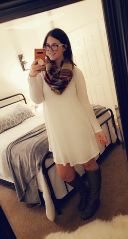 SALE!! White Long Sleeve Scoop Tunic Dress