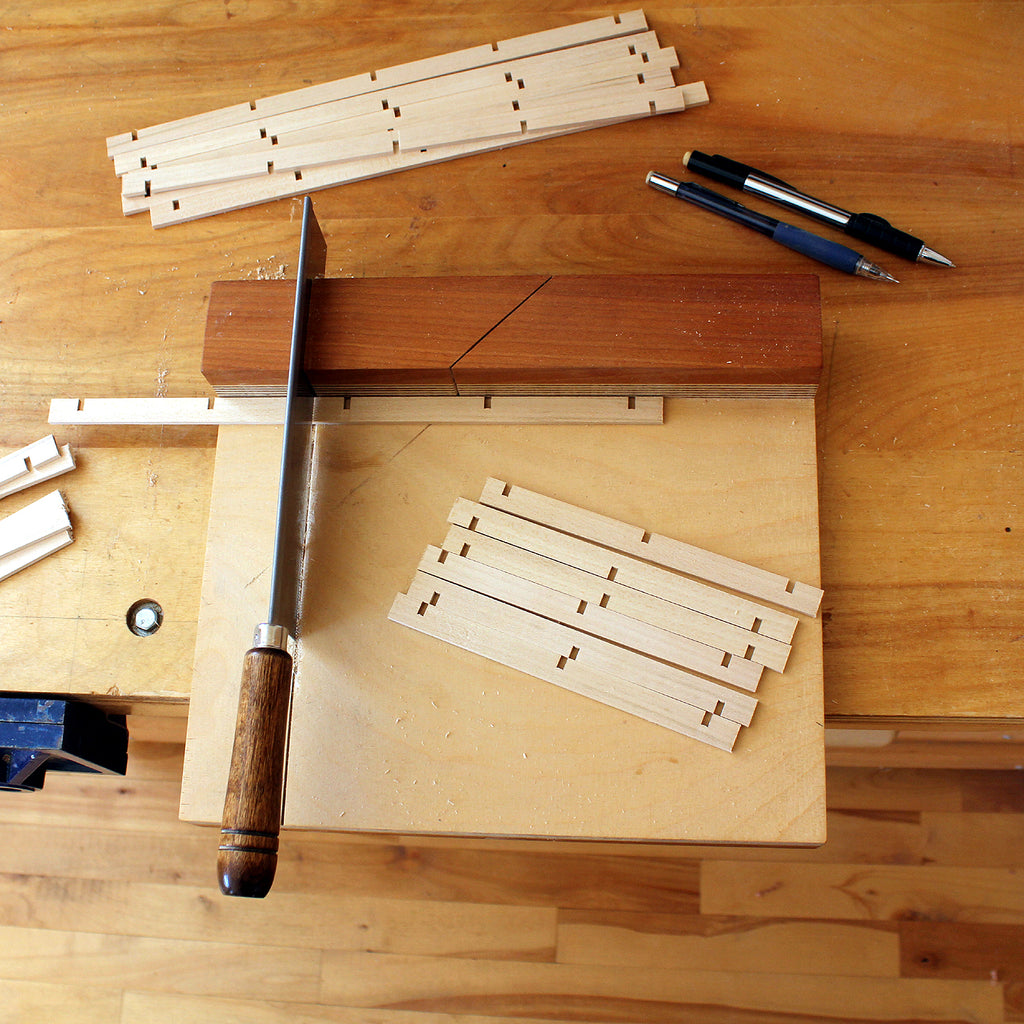 Sawing Kumiko strips to length on a bench hook