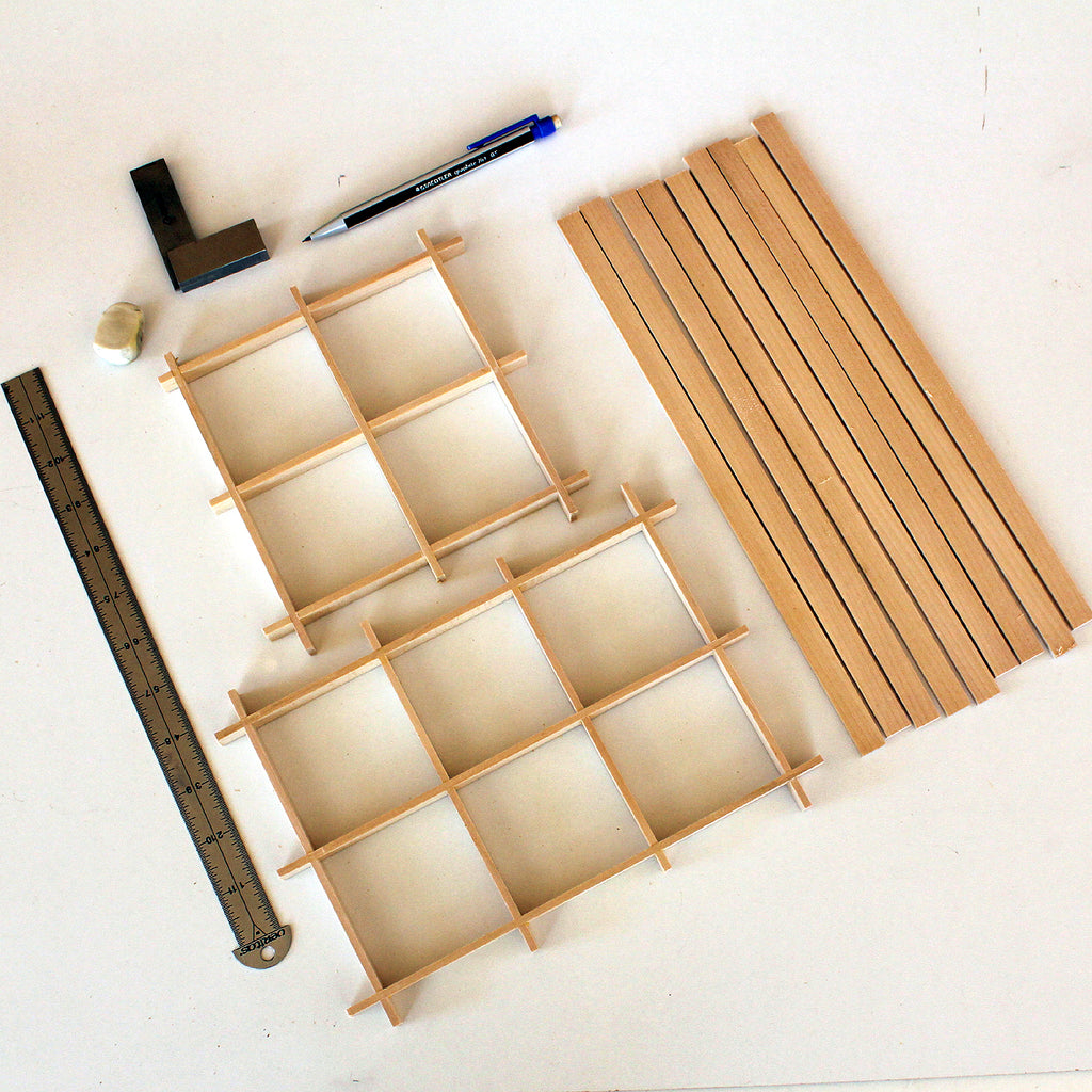 Kumiko frames assembled using half-lap joints
