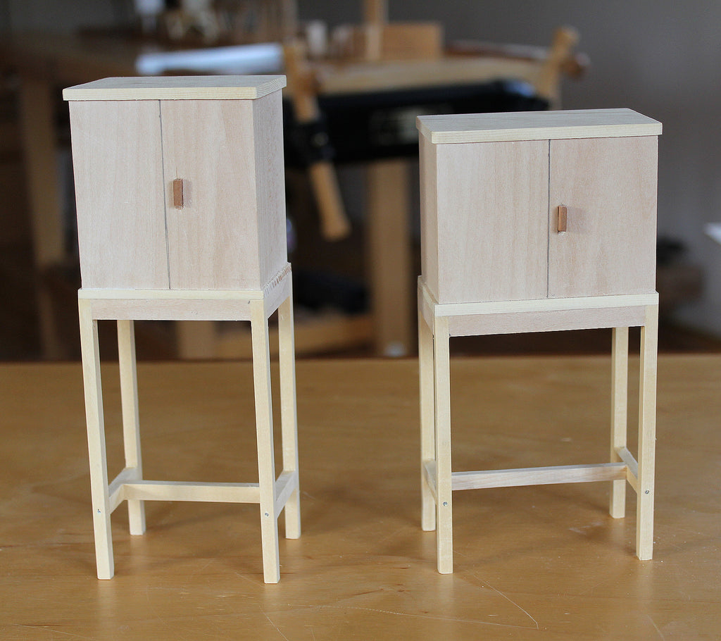 Maquettes or scale models of furniture