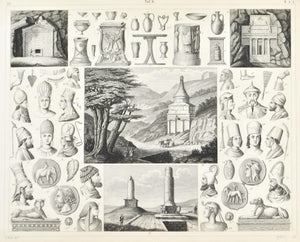 Egyptian Indian Persian Artifacts and Monuments Antique Print 1857