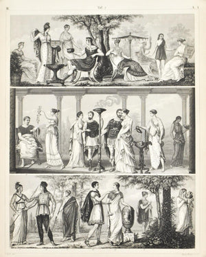 Grecian Costumes Culture Philosopher War Leader Antique Print 1857