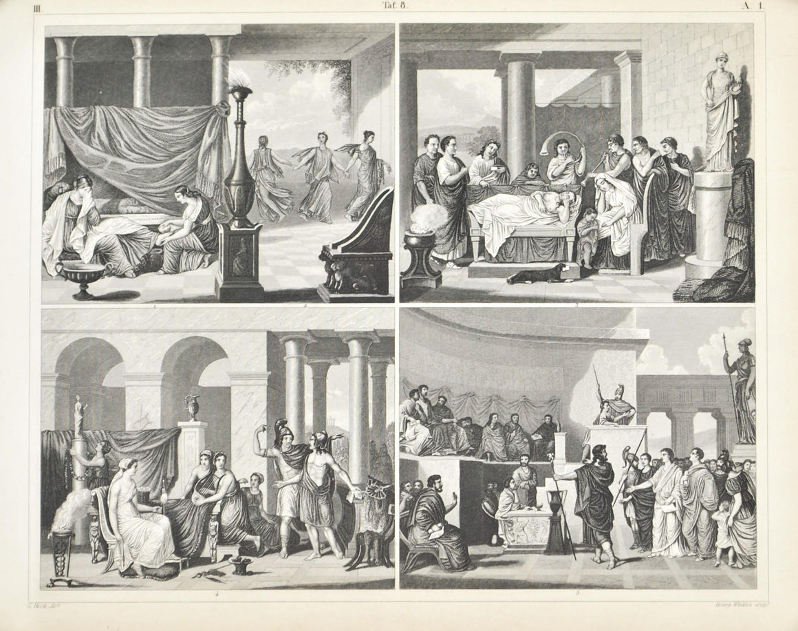 Greek Wedding Roman Funeral Areopagus Antique Print 1857
