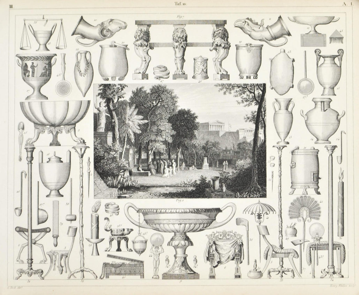 Philosopher's Garden Athens Greek Tools Furniture Antique Print 1857