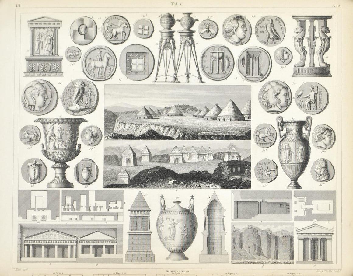 Tombs Tarquinii Assns Telmessus Falerii Greek Coins Antique Print 1857