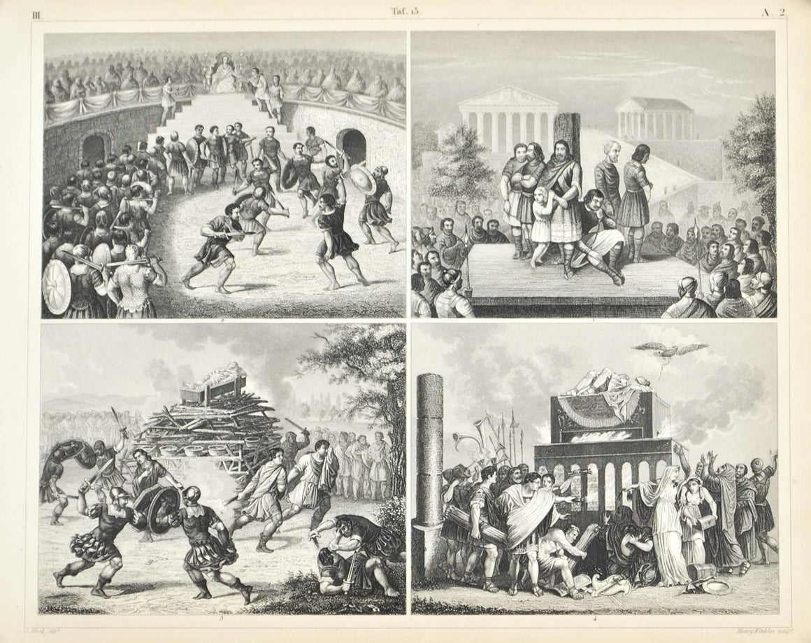 Rome Gladiators Funeral Antique Print 1857