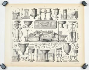 Roman Furniture Tools Antique Print 1857