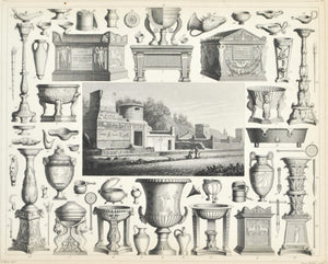 Tombs of Pompeii Monuments Furniture Tools Antique Print 1857