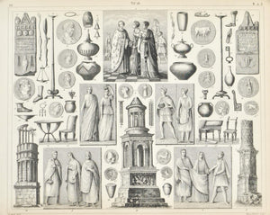 Gallic Culture Coins Roman Column Antique Print 1857