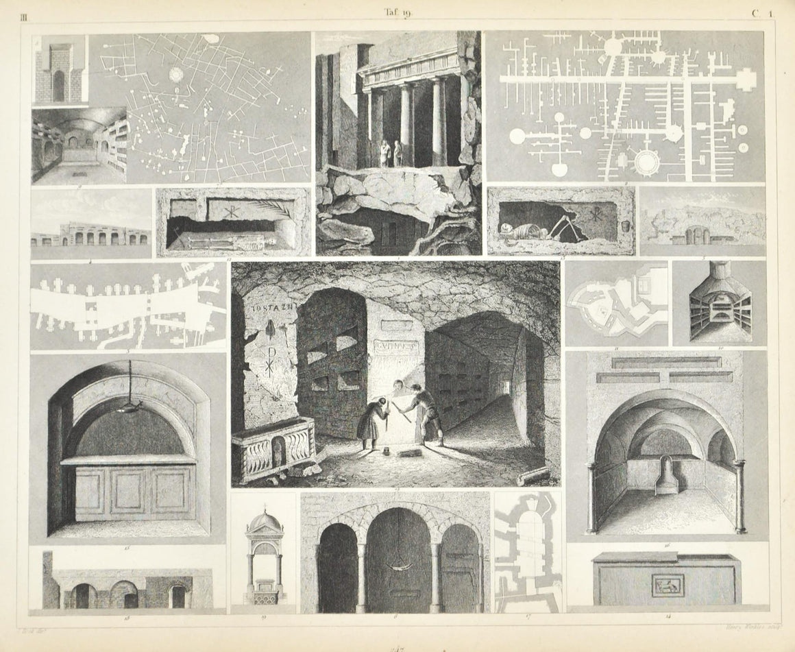 Jerusalem Catacombs Tombs Syracuse Antique Print 1857