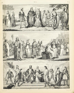 Costumes of Central Europe Charlemagne Antique Print 1857