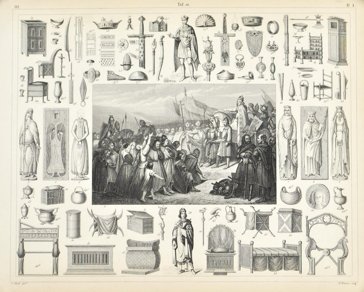 Charlemagne Childebert Frank Arms Utensils Furniture Antique Print 1857