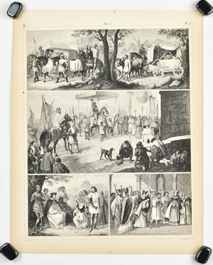 Frankish Kings St. Louis Punishment Antique Print 1857