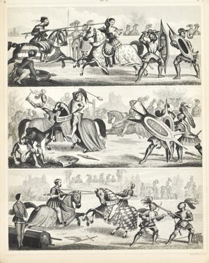Jousting Knights Maces Shields Antique Print 1857