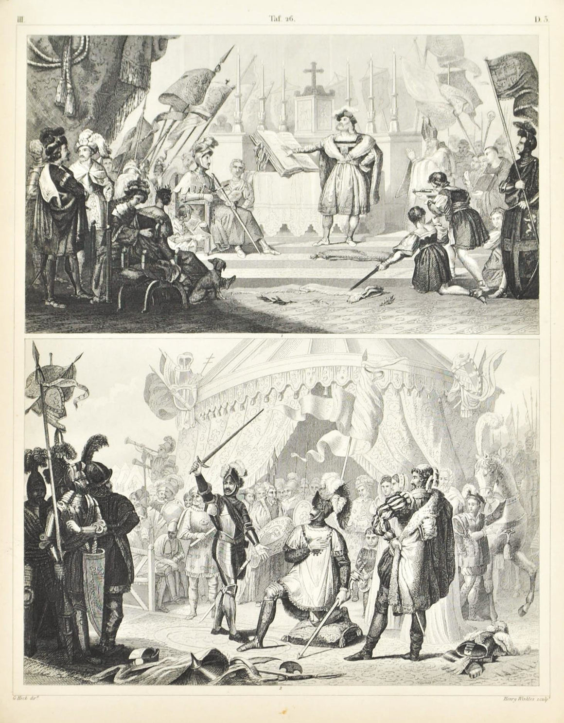 Knights Taking Oath Dubbing Antique Print 1857
