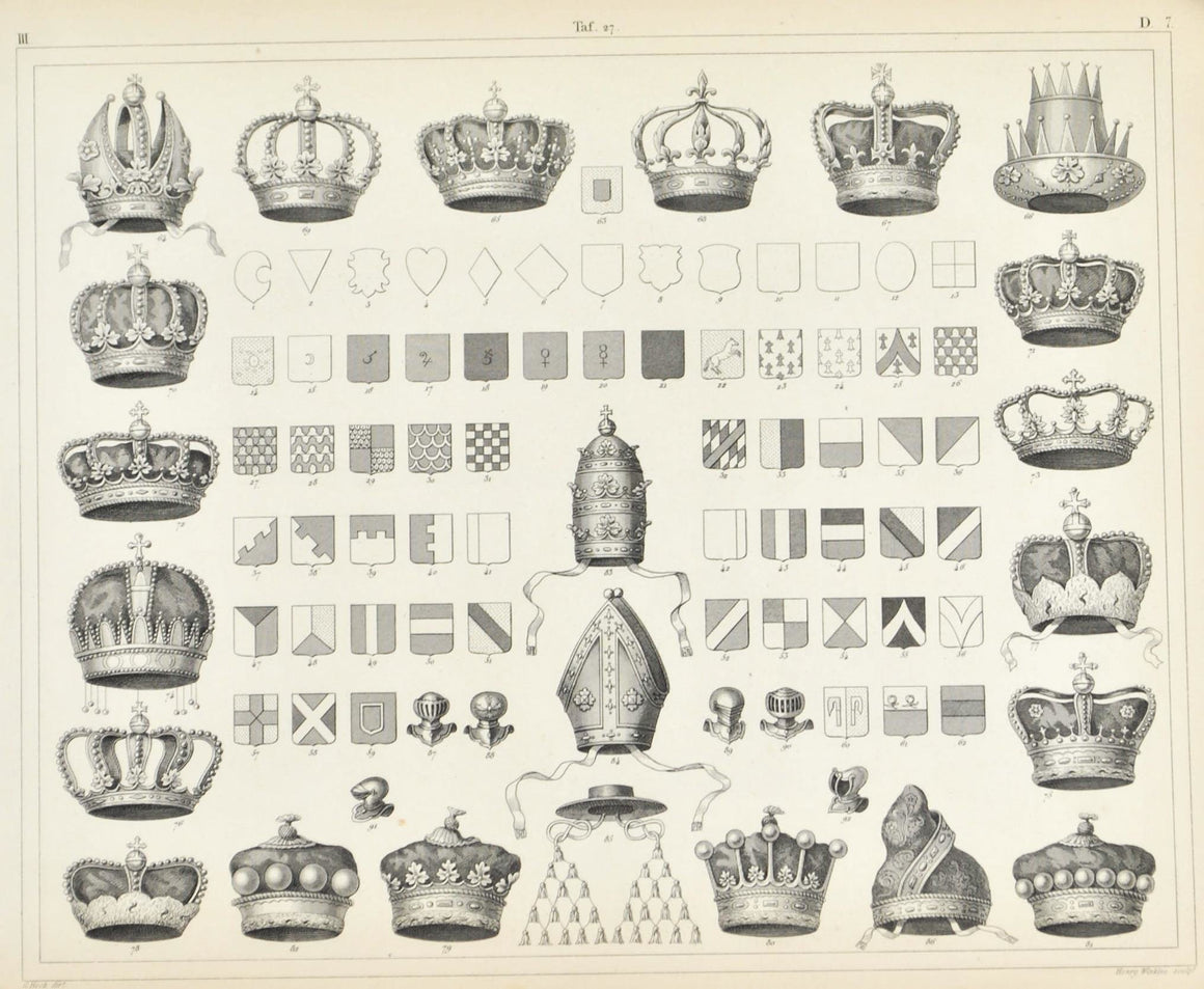 Shields Crests Crowns Antique Print 1857