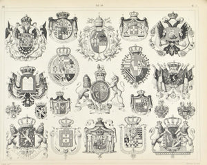 Coat of Arms Antique Print 1857 A