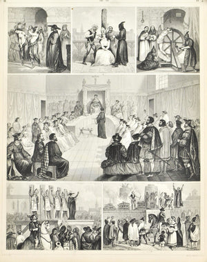 Inquisition Punishment Torture Auto-da-fe Antique Print 1857