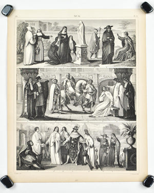 Nun Knight Templar Antique Print 1857