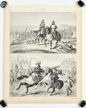 Crusaders Return from Palestine Jousting Tournament Antique Print 1857