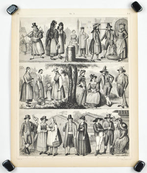 People of Holstein Tyrol Austria Bohemia Antique Print 1857
