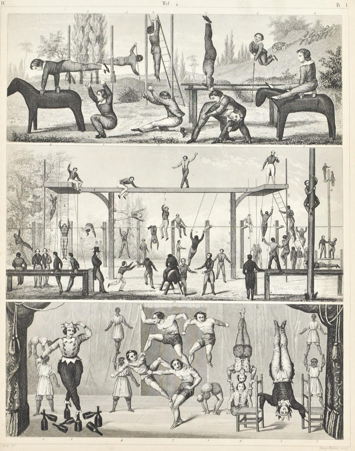 Aerobics Gymnastics Circus Feats Antique Print 1857
