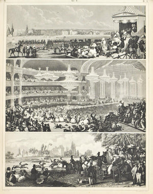 Horse Races Masked Ball Antique Print 1857