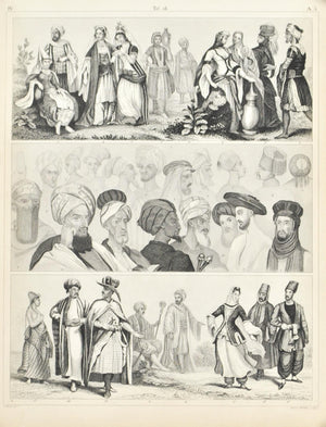 Middle East Culture and Fashion Antique Print 1857