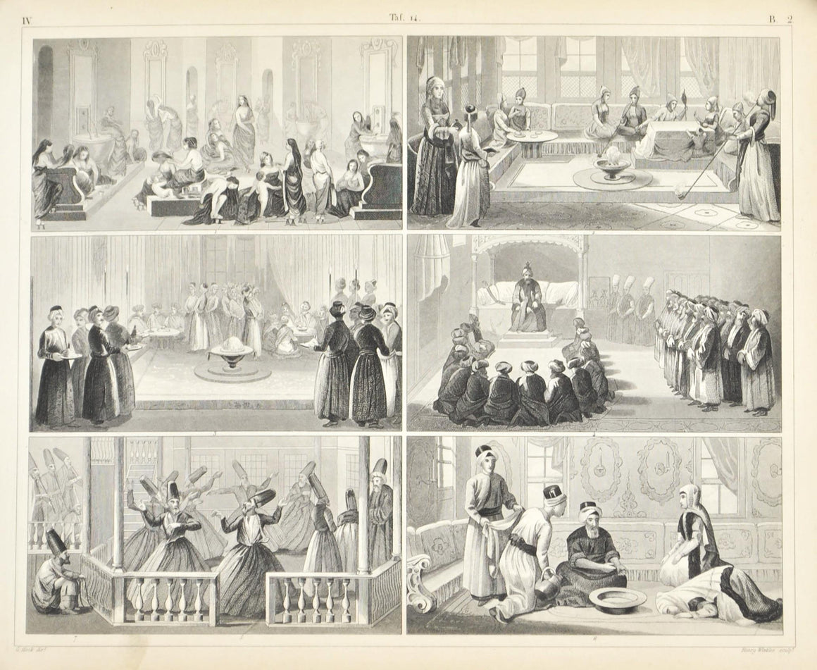 Middle East Culture and Activities Antique Print 1857