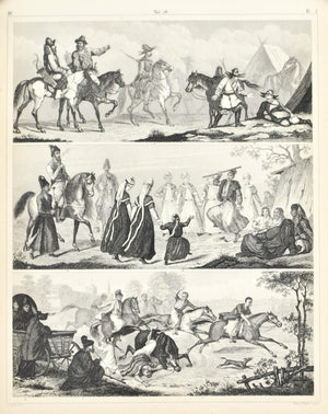 Middle East Culture and Dress Activities Antique Print 1857