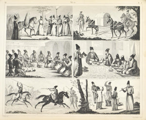 Middle East Culture Wedding Music Meal Games Punishment Antique Print 1857