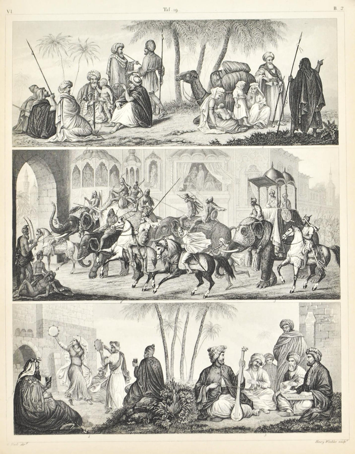Arabian Music and Dance Nomades Bedouin Antique Print 1857