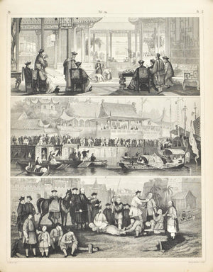 Chinese Jugglers Theatre Punishment Antique Print 1857