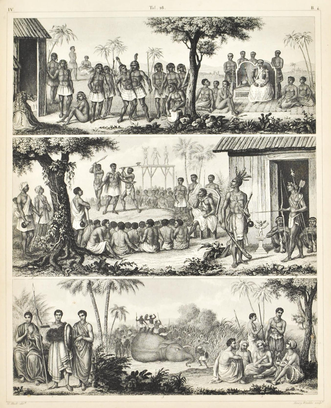 African Culture Dress Rituals Antique Print 1857