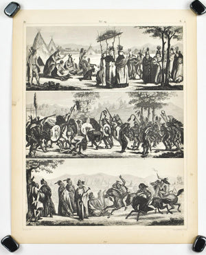 Sports of Indian Tribes Antique Print 1857