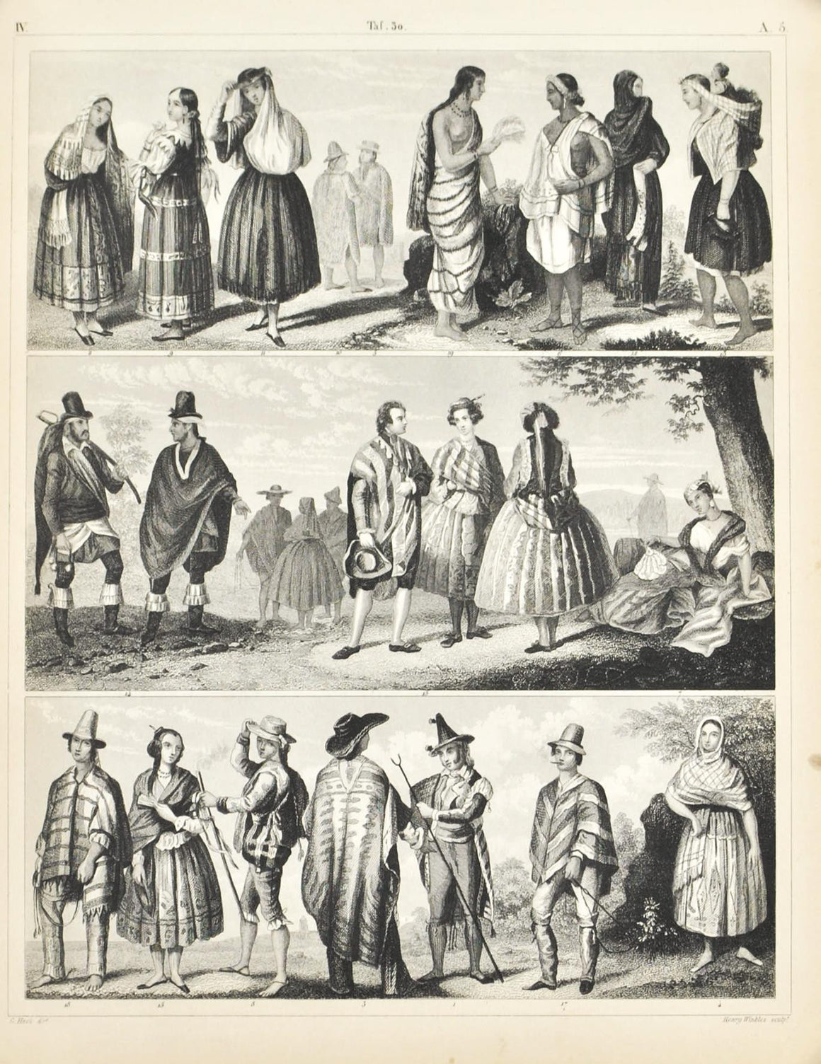 Central and South Amerian Culture and Dress Antique Print 1857