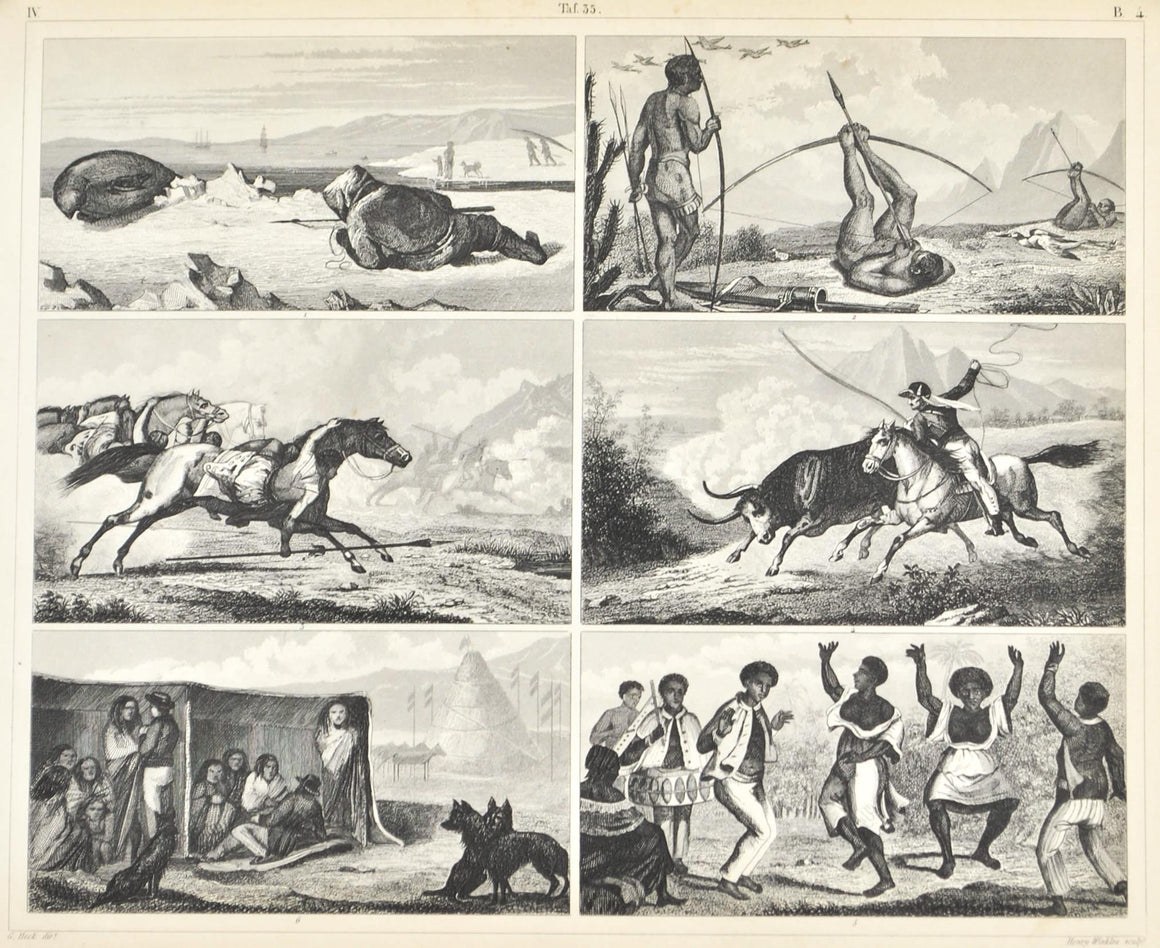 Greenland Seal Hunting Brazilians San Paulo Antique Print 1857