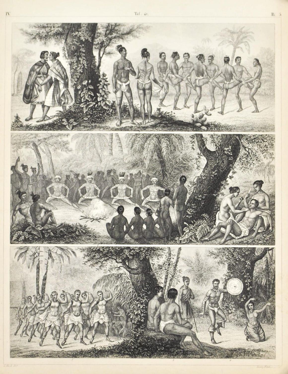 Aborigines New Zealand Tattooing Australian Antique Print 1857
