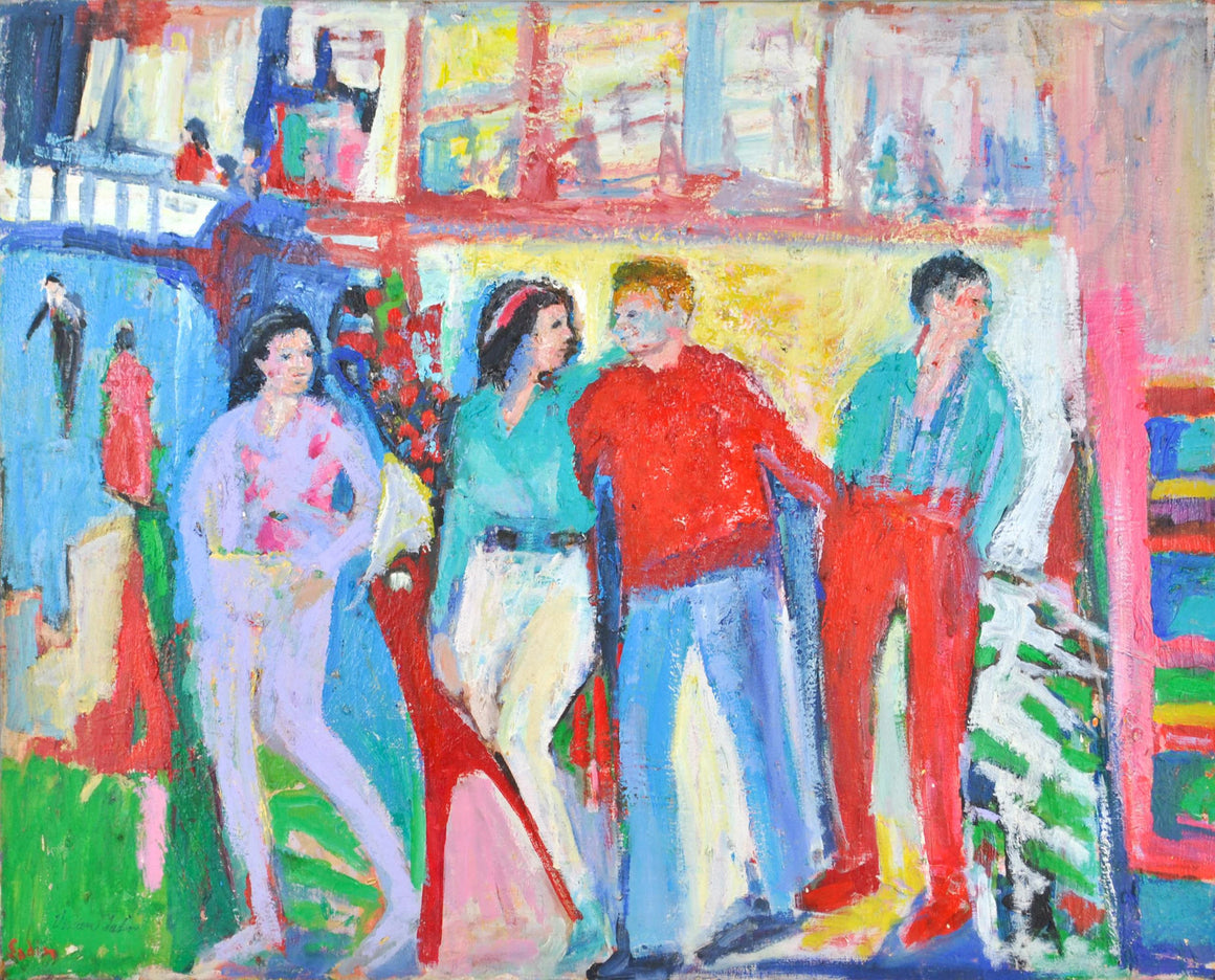 Young & Happy People Portrait Oil Painting by Vivian Sadin Bright Red Colors