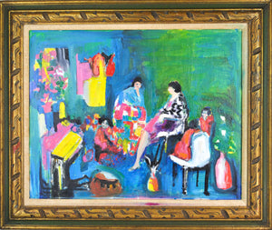 Women Children Family Gathering Oil Canvas Painting Signed Vivian Sadin