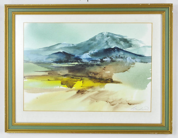 Mountain Landscape Watercolor Painting Signed Framed 17x13in