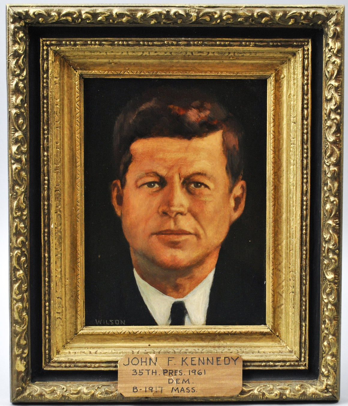 Fred Wilson - President John F. Kennedy - Signed Oil on Board - 1962