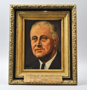 Fred Wilson - President Franklin D. Roosevelt - Signed Oil on Board - 1962