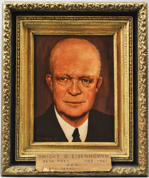 Fred Wilson - President Dwight D. Eisenhower - Signed Oil on Board - 1962