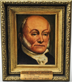 Fred Wilson - President John Quincy Adams - Signed Oil on Board - 1962
